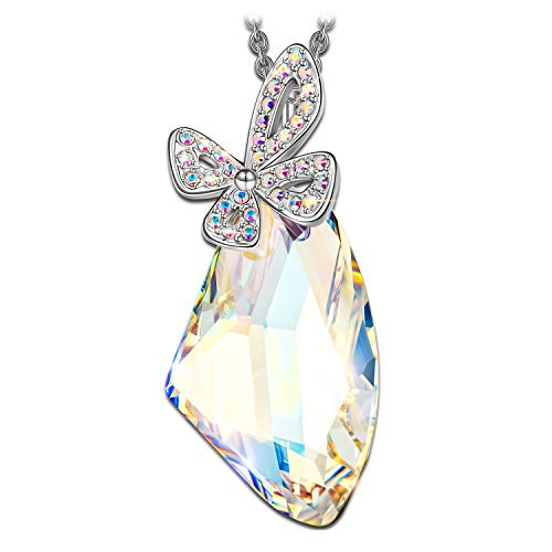 LADY COLOUR Lay My Love On You Butterfly Necklace Made Moonlight Crystals from Swarovski – Butterfly Collection Hypoallergenic Jewelry Gift Box Packing, Nickel Free Passed SGS Test Birthday Gifts