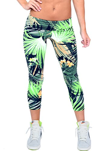 Printed Women Patterned Compression Legging by Lino Fitness XS S Palm Tree