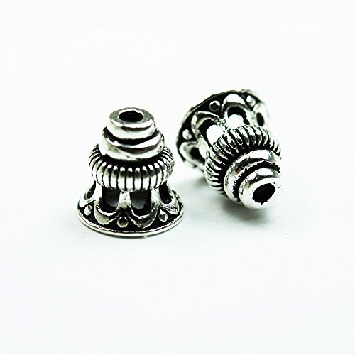 4pcs Antiqued 925 sterling silver Jewelry Findings Bead cap,88mm Filigree Flower cap,5.5mm inner size,1mm hole (8mm Sterling Silver Bead Cap)