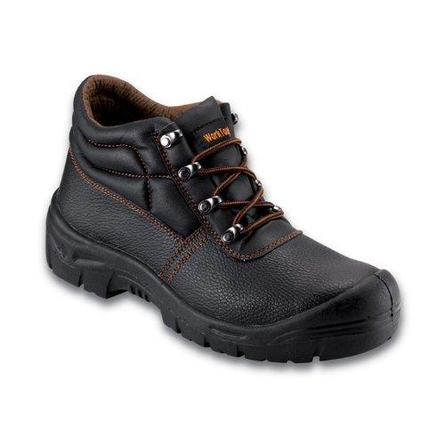 WorkTough 105SM14 - Tamaño 14 s1p botas chukka cuero uk - negro