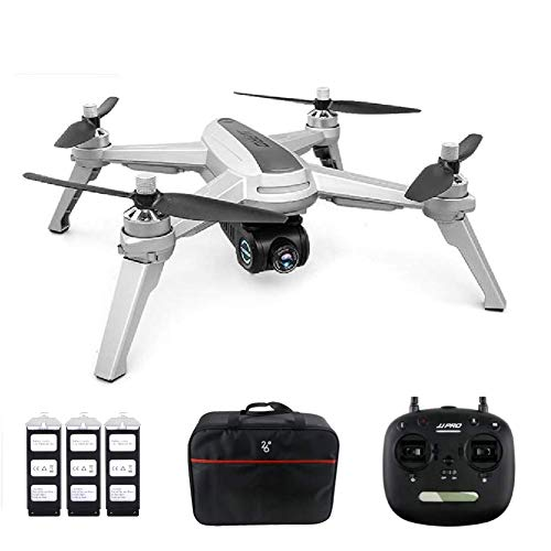 JJRC JJPRO X5 Drone with Camera 1080P and GPS Positioning Brushless Motors 5G WiFi FPV Racing Quadcopter – Gray (3 Batteries + Bag)