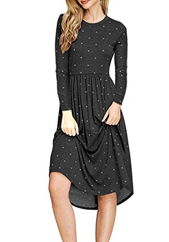 Dot 4 Loose Pleated Shirt Casual Women's Black Polka Sleeve ZESICA Pockets Swing 3 Dress T wAXSqxE