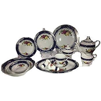 Amazon.com | Imperial Porcelain Cobalt Blue & Gold Trim ...
