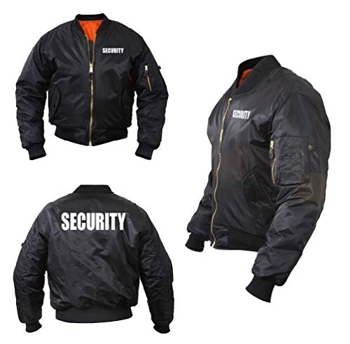 4in 1 Patrol Jacket - Black Security Guard Officer Ma-1 Water Resistant Flight Raid Patrol Jacket Coat