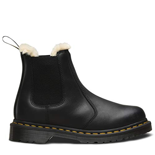 Dr. Martens Women's Leonore Burnished Wyoming Leather Fashion Boot, Black, 7 Medium UK (9 US) (Best Winter Chelsea Boots)