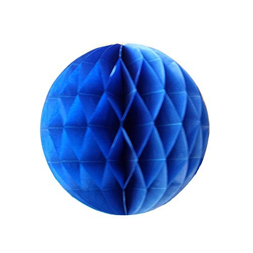 Daily Mall 10Pcs 8 inch Art DIY Tissue Paper Honeycomb Balls Party Partners Design Craft Hanging Pom-Pom Ball Party Wedding Birthday Nursery Decor (Royal Blue) Blue Art Tissue Ball