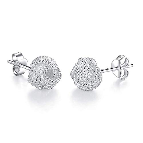 Sterling Silver Twisted Love Knot Stud Earrings for Women (8mm)