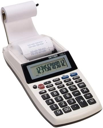 Casio HR8TM Handheld Printing Calculator - LCD AC Supply Power 12 Character s