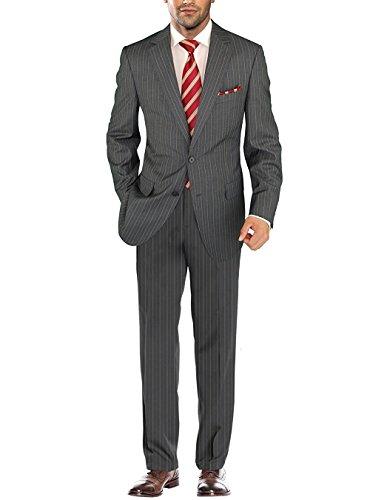 Salvatore Exte Men's Modern Two Button Jacket Flat Front Pants Striped Suit (48 Long US / 58L EU / W 42