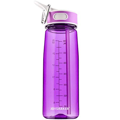 BOTTLED JOY Sports Water Bottle with Straw&Handle, BPA-Free Leakproof Wide Mouth Drinking Bottle 27oz 800ml High Capacity for Running, Fitness,Excerise, Hiking, Cycling (Deep Purple) ()