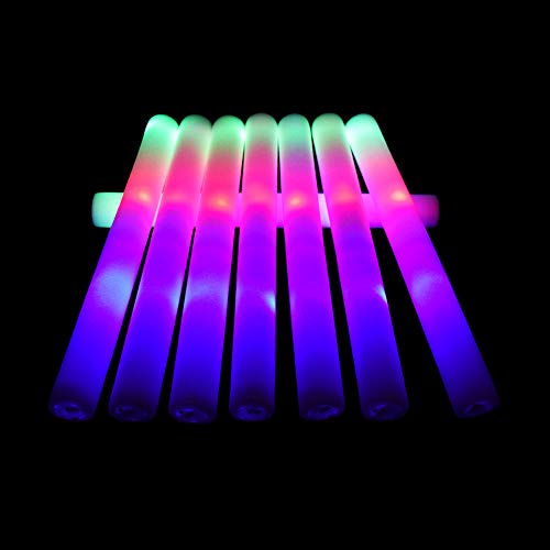 Taotuo 24pcs Foam Stick, 3 Mode Flashing Foam Wands Colorful Glow in The Dark Party Supplies for Wedding, Birthday, Festivals, Light Up Toys