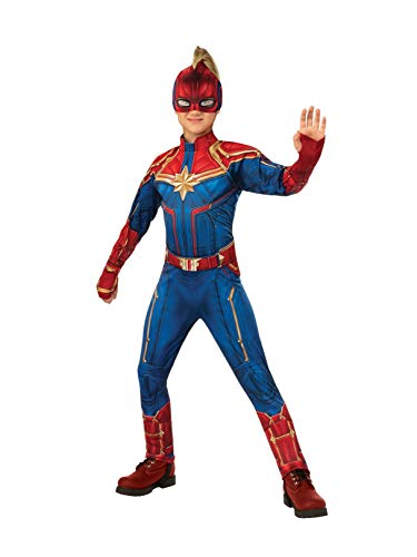 Rubie's Captain Marvel Children's Deluxe Hero Suit, Small 700597 Blue/Red -