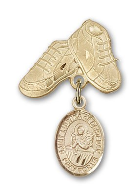 ReligiousObsession's 14K Gold Baby Badge with St. Lidwina of Schiedam Charm and Baby Boots Pin