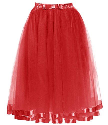 DYS Women's Tulle Skirt Petticoat Slip Crinoline Underskirt Ribbon Tea Length Red -