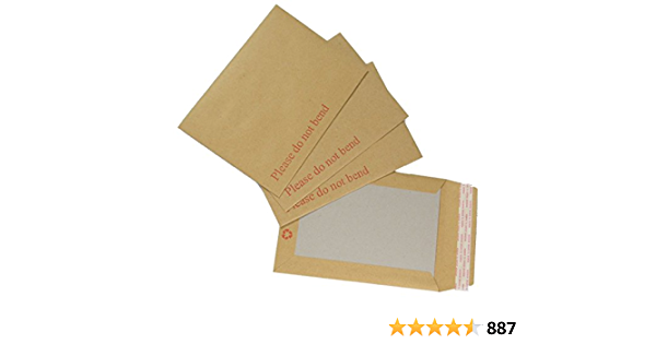 NEW HARD CARD BOARD BACK BACKED /'PLEASE DO NOT BEND/' ENVELOPES  BROWN