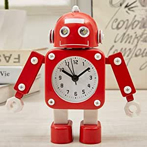 Reloj De Alarma para Niños Robot De Metal Estudiantes Creativo Dormitorio Simple Lado Lindo Reloj De Dibujos Animados con Silencio, Red Pen Holding Robot: Amazon.es: Hogar