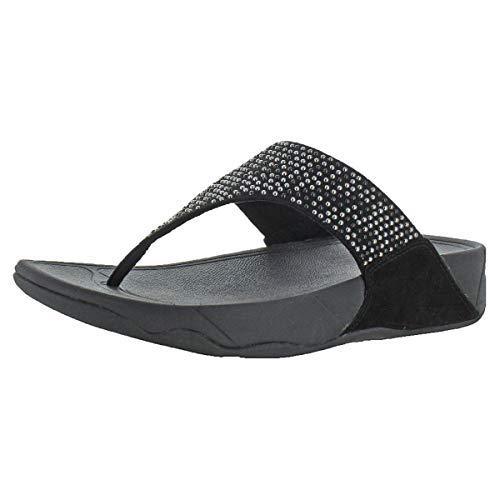 FitFlop Women's Lulu Popstud Flip Flop, Black 10 M US