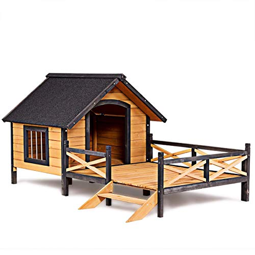 Tangkula Wood Dog House, Cabin Style Large Elevated Weather Waterproof Outdoor Pet Dog House, Lodge with Porch, Spacious Deck for Sunny Nap, Wooden Pet Dog House by Tangkula (Image #9)