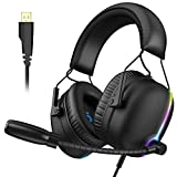 VersionTECH. 7.1 USB Gaming Headset, RGB Gaming Headphone with ENC Dual Noise Canceling Microphone, E-Sports Vibration PS4 Headset with 6 audible units for PS4, PC, Desktop Computer,Laptop-Black