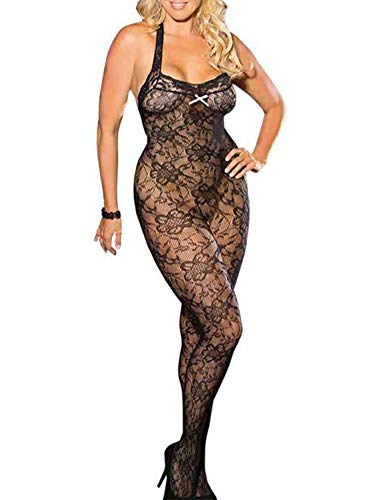 Black Fishnet Crotchless Bodystocking - Vivilover Womens Halter Fishnet Lingerie Floral Crotchless Suspender Bodystocking Plus Size (US 14-20=Tag XL)