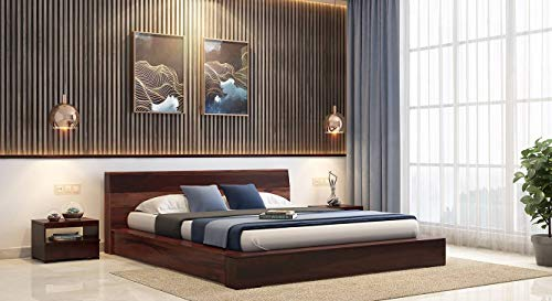 Urban Ladder Duetto King Size Solid Wood Bed  Finish : Two Tone
