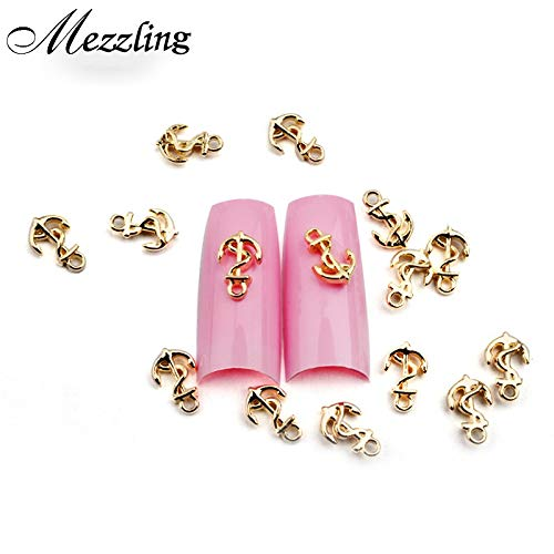 (Kamas 20pcs Hot Gold Metal Nail Art Studs 3D Anchor Nail Jewelry Floating Locket Charm DIY Nail Tips Decoration )