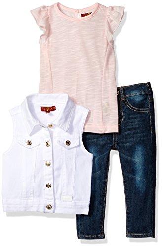 7 For All Mankind Baby Girls Flutter Sleeve Top Denim Vest and Jean Set SilverPink 18M