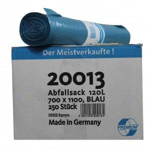 Deiss Premium Abfallsä cke, Karton a 10 Rollen a 25 St., 120 Liter, 700 x 1100 mm, blau