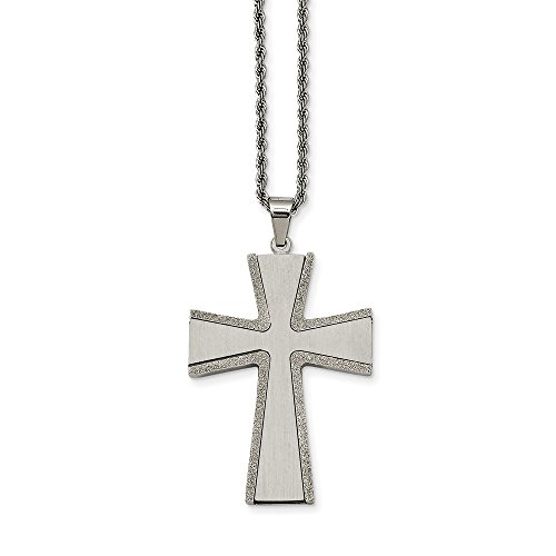 (Chisel Stainless Steel Laser Cut and Brushed Cross Pendant Necklace One Size)