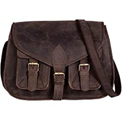 """Description: Full Grain Buffalo Leather , Size 14"""" width x 10.5"""" height x 4"""" depth. Well suited to carry mobiles, cash, vanity items and other personal belongings etc. Genuine handmade product . A perfect companion and gift for your close one..."""