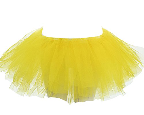 Bouffe Unique Jupe Tulle Pliss Ballerine Tutu Ballet SaiDeng Taille Mini Danse Femme Jaune Jupe 7tT17wRqx