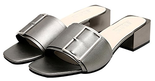 T&Mates Womens Fashion Open Toe Flip Flops Low Square Heel Sandals with Metal Buckle (7.5 (Brake Mate)