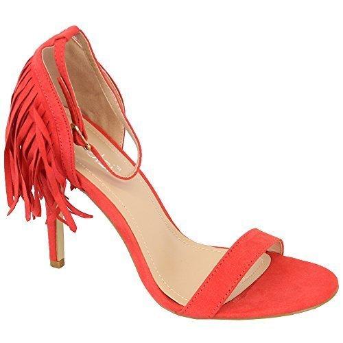 Ladies Sandals Kelsi Women Tassels Suede Look High Heel Open Toe Shoes Party New Red - KL02