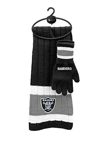 Littlearth NFL Oakland Raiders Unisex Nflnfl Scarf & Glove Gift Set, Black, Gray, 2Piece Set