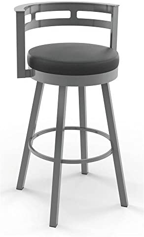 Amisco Render Swivel Counter Stool in Glossy Gray Metal Finish