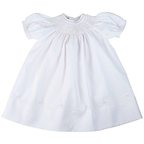 Girls White Smocked Christening Bishop Dress with Pearls Feltman Brothers (White Smocked Bishop)