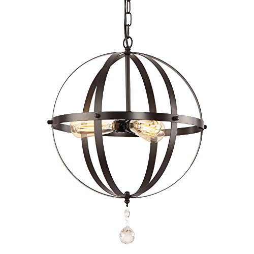 HMVPL Industrial Globe 3 Lights Pendant Lighting Fixture with Chain, Vintage Oil-Rubbed Bronze Orb Hanging Chandelier Metal Ceiling Lamp for Kitchen Island Dining Room Table Entryway Hallway