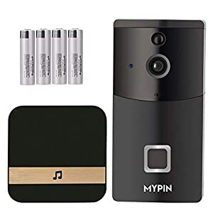 WiFi Video Doorbell Camera, Smart Doorbell 720P HD Security Camera with Cloud Storage, Chime and Rechargeable Batteries, Real-Time Video and Two-Way Talk, Night Vision, PIR Motion Detection