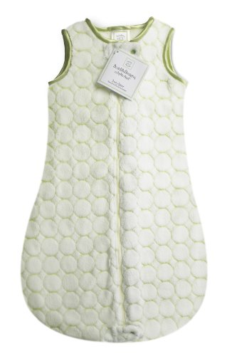 2 Zipper Way (SwaddleDesigns Microfleece Sleeping Sack with 2-Way Zipper, Kiwi Puff Circles, 0-6MO)