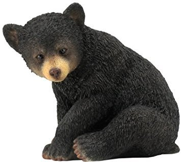4.25 Inch Bear Cub Sitting Decorative Statue Figurine, Black Color