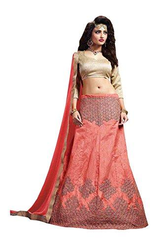Da Facioun Womens Silk Fabric Salmon Striking A Line Lehenga Style 84066