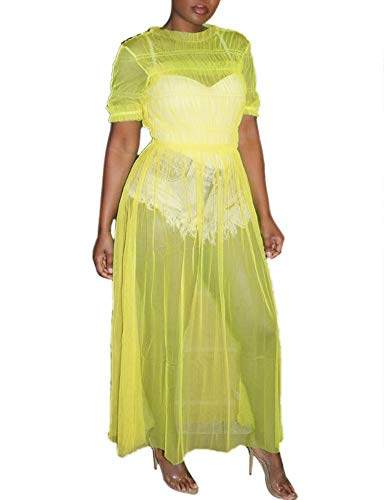 Ophestin Womens Sexy Sheer Mesh Ruched Solid Short Sleeve Maxi Dress Cover Up Clubwear Yellow Size L