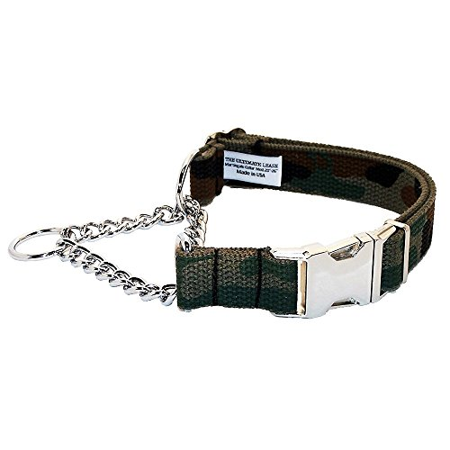 Military Camo Martingale Dog Collar | Made in the USA | Adjustable, Small, Medium, Large, Top Quality, Premium, Heavy Duty, Durable, Strong, Nickel Plated Steel, Wide, Training - The Ultimate Leash ()