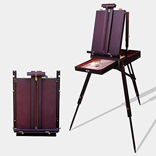 LXLA- レトロアーティストイーゼルポータブル木製油絵ボックス三脚スタジオのディスプレイスタンド屋内屋外スケッチのための56×41×11cm