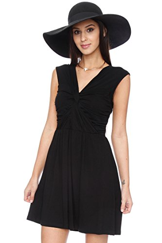 Jersey Knit Front Knotted Dress - CLEARANCE Black S (Knotted Jersey Dress Black)