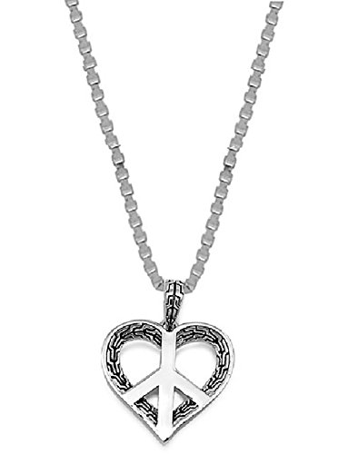 Peace Sign Necklace Heart (Sterling Silver Heart Peace Sign Symbol Pendant Necklace Jewelry for Women)