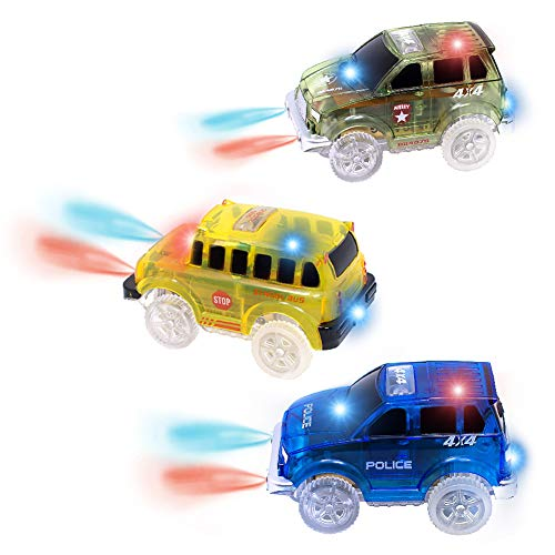 AUKND Tracks Cars Replacement Light Up Toy Car Track Accessories Toys Racing Car with 5 Flashing LED Lights Compatible with Most Tracks for Boys and Girls Best Gifts 3Pack for $<!--$14.38-->