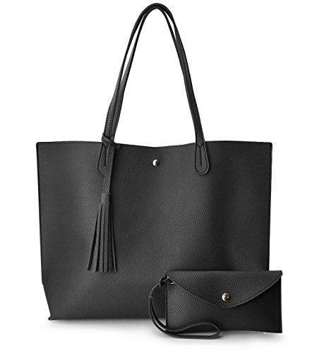 - Minimalist Clean Cut Pebbled Faux Leather Tote Womens Shoulder Handbag (Black)