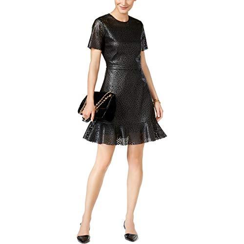 MICHAEL Michael Kors Womens Party Faux Leather Cocktail Dress Black 10