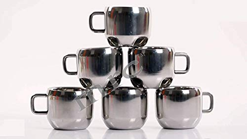 MRC Stainless Steel Coffee Cup – 6 Pieces, Silver, 100 ml Price & Reviews